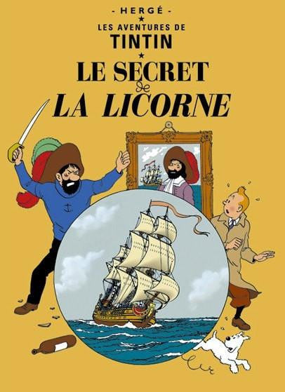Moulinsart Tintin The Adventures of Tintin: Le Secret de la Licorne Poster in French. 50x70cm