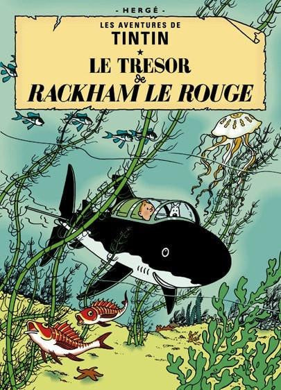 The Adventures of Tintin: Le Tresor de Rackham le Rouge Poster in French. 50x70cm