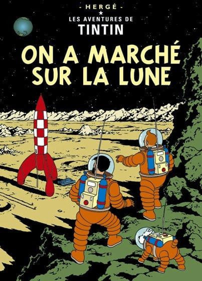 Moulinsart Tintin The Adventures of Tintin: On a Marche Sur La Lune Poster in French. 50x70cm