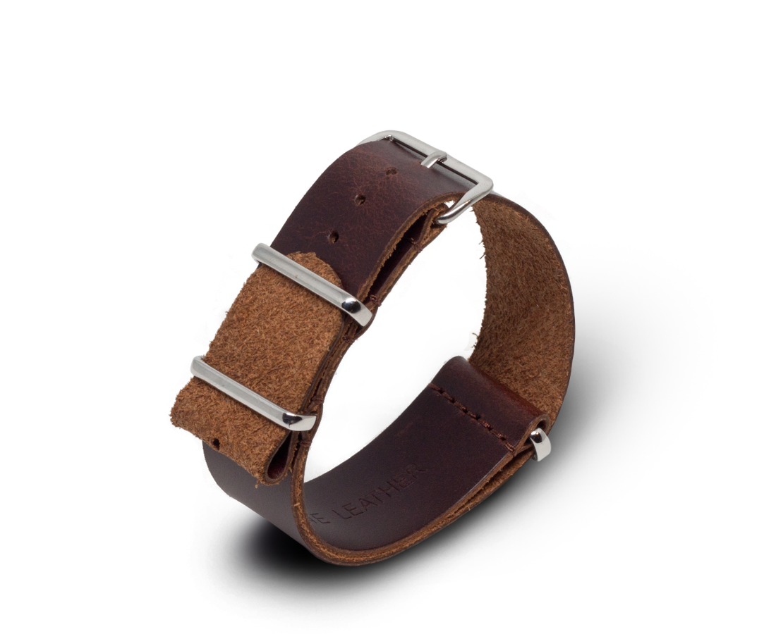 Leather Nato Watch Strap in Dark Brown 24mm. Nato Watch Straps. Compendium Design Store. AfterPay, ZipPay accepted.