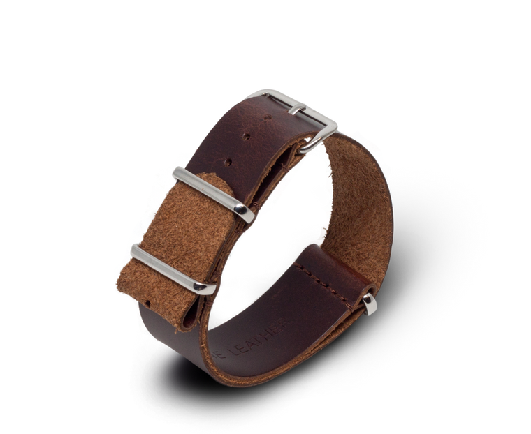 Leather Nato Watch Strap in Dark Brown (Smooth) with Silver Hardware
