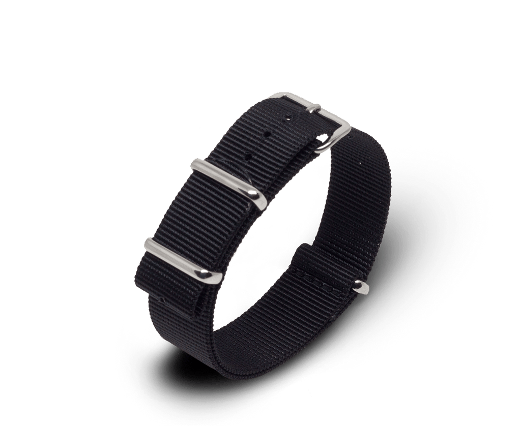 Nato Watch Strap in Black with Silver Hardware