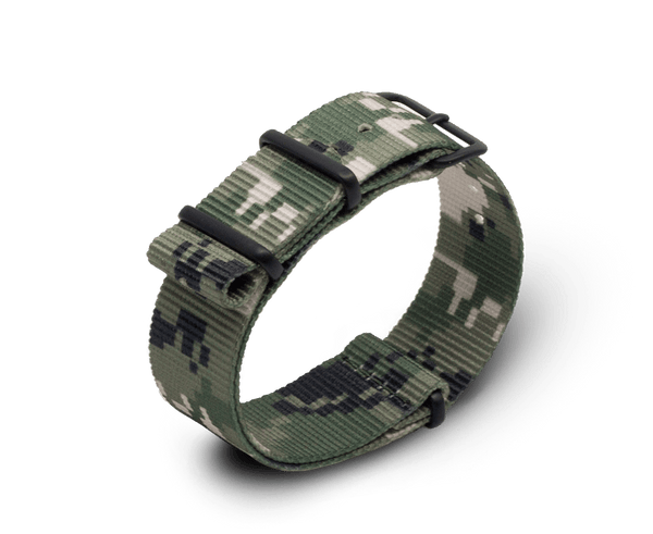 Nato Watch Strap in Digital Camo Print with Black PVD Hardware