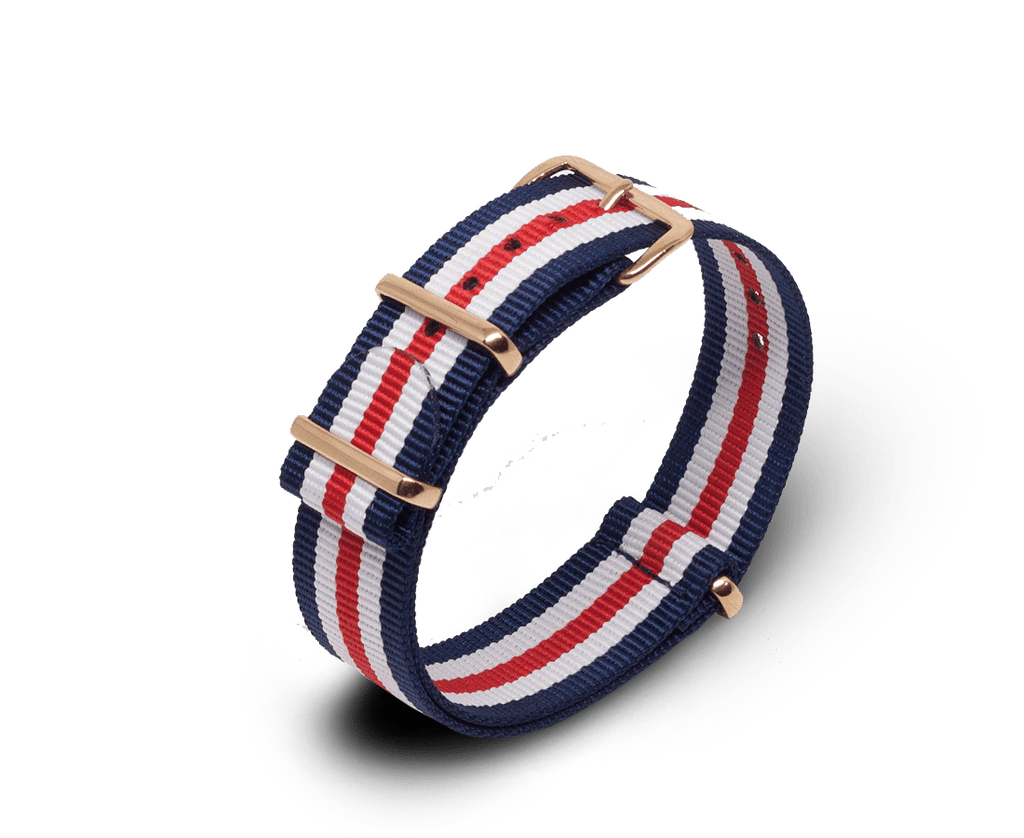 Nato Watch Strap in Navy, White, Red Stripes with Rose Gold Hardware