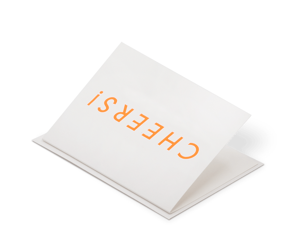 Foil Blocked Card, Cheers Print in Neon Orange/ White. Compendium Design Store, Fremantle. AfterPay, ZipPay accepted.