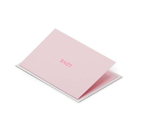 Foil Blocked Card, Love Print in Neon Pink/Pink
