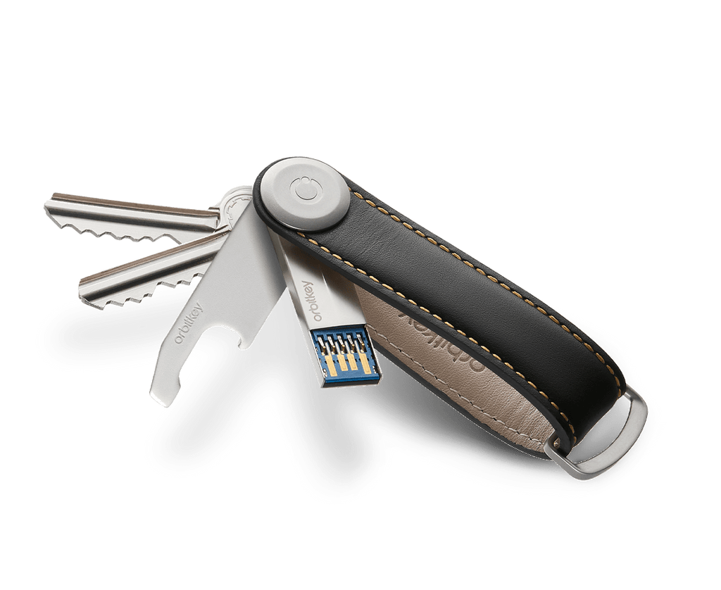 A handy USB memory stick that's with you everywhere you go. Attach it to your Orbitkey Key Organiser.