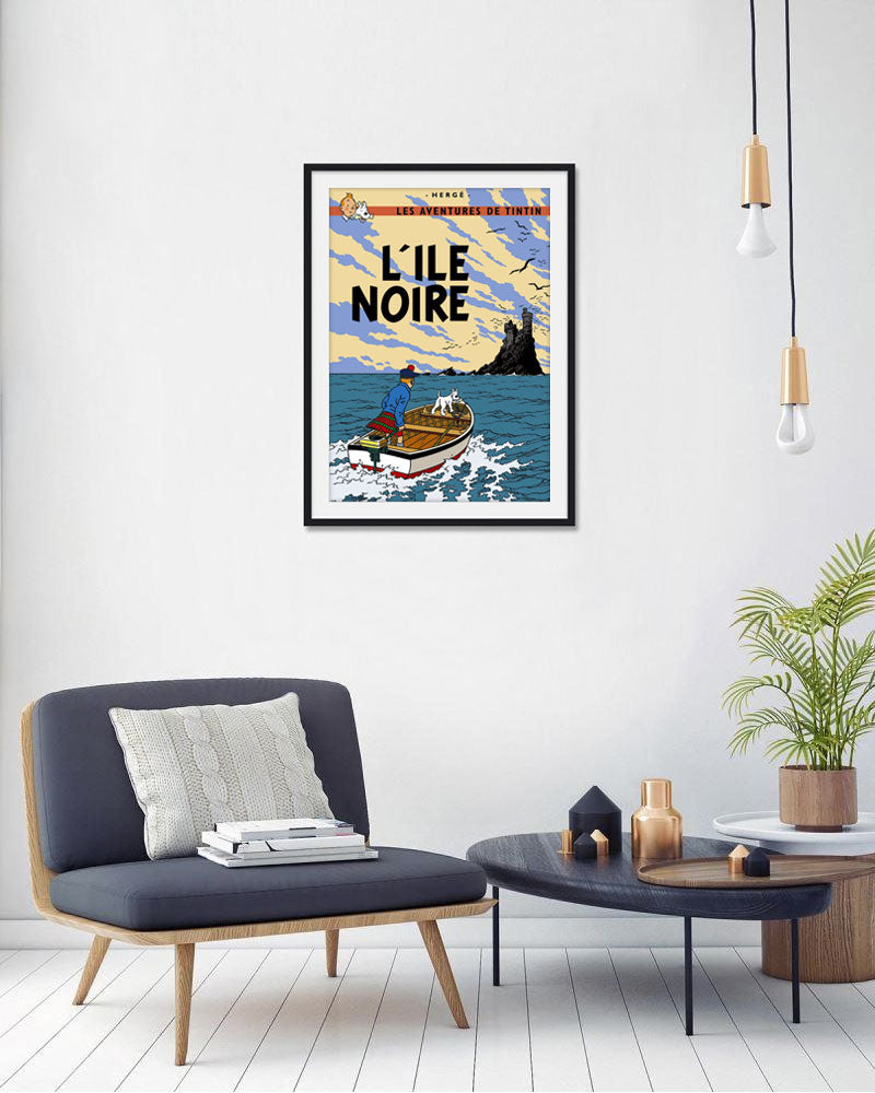 The Adventures of Tintin: L'lle Noire Poster in French. 50x70cm. Compendium Design Store, Fremantle. AfterPay, ZipPay accepted.