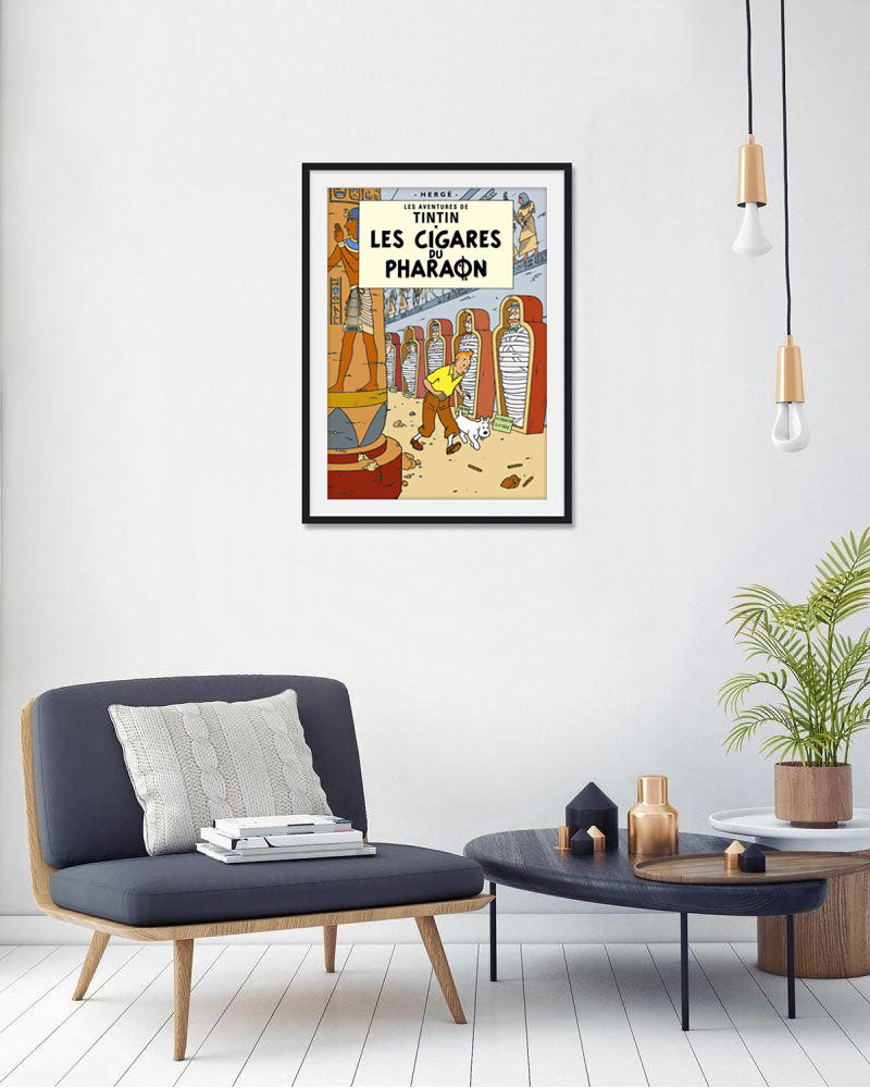 The Adventures of Tintin: Les Cigares du Pharaoh Poster in French. 50x70cm