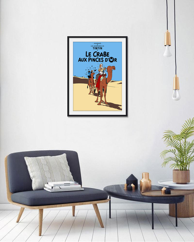 The Adventures of Tintin: Le Crabe aux Pinces D'or Poster in French. 50x70cm. Compendium Design Store, Fremantle. AfterPay, ZipPay accepted.