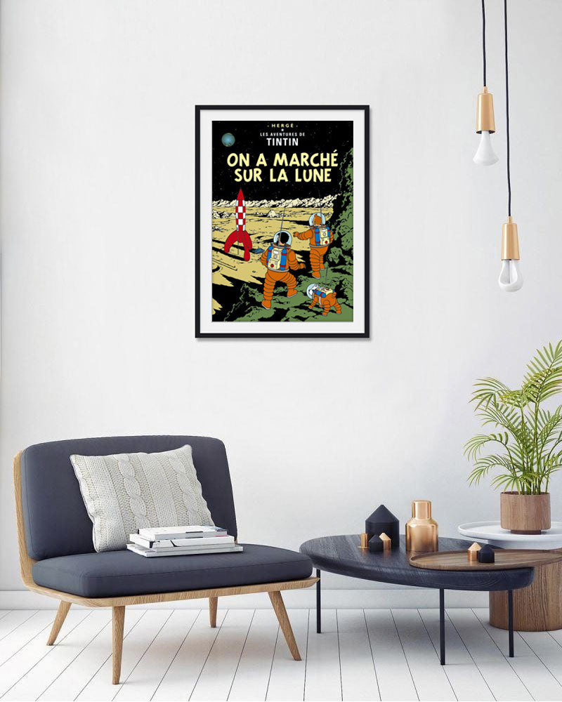 The Adventures of Tintin: On a Marche Sur La Lune Poster in French. 50x70cm