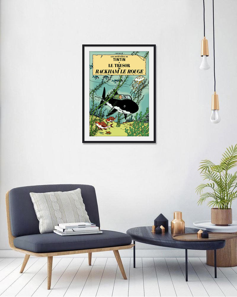 The Adventures of Tintin: Le Tresor de Rackham le Rouge Poster in French. 50x70cm. Compendium Design Store, Fremantle. AfterPay, ZipPay accepted.