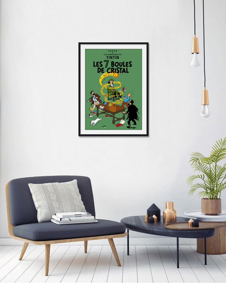 Moulinsart Tintin The Adventures of Tintin: Les 7 Boules de Cristal Poster in French. 50x70cm