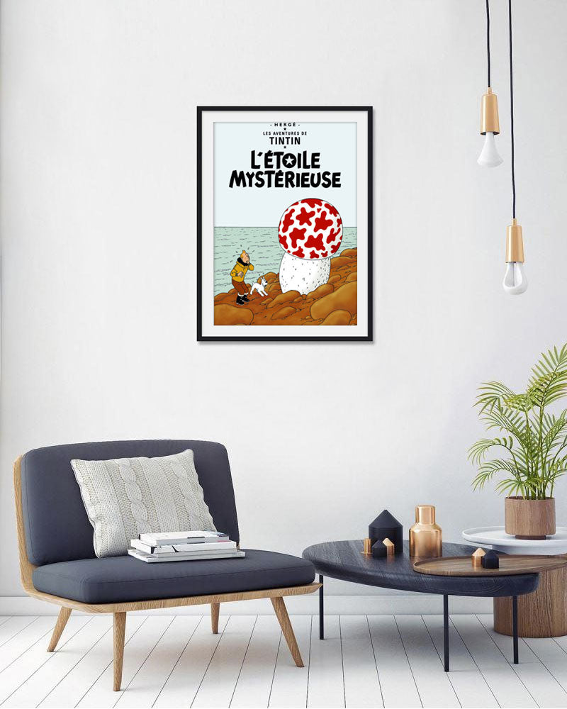 The Adventures of Tintin: L'Étoile Mystérieuse Poster in French. 50x70cm. Compendium Design Store, Fremantle. AfterPay, ZipPay accepted.