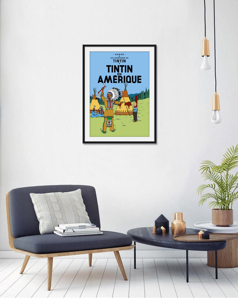 Moulinsart Tintin The Adventures of Tintin: Tintin en Amérique Poster in French. 50x70cm