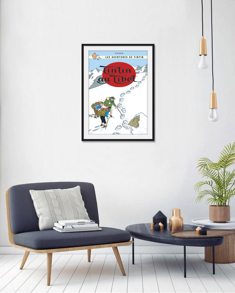 Moulinsart Tintin The Adventures of Tintin: Tintin au Tibet Poster in French. 50x70cm