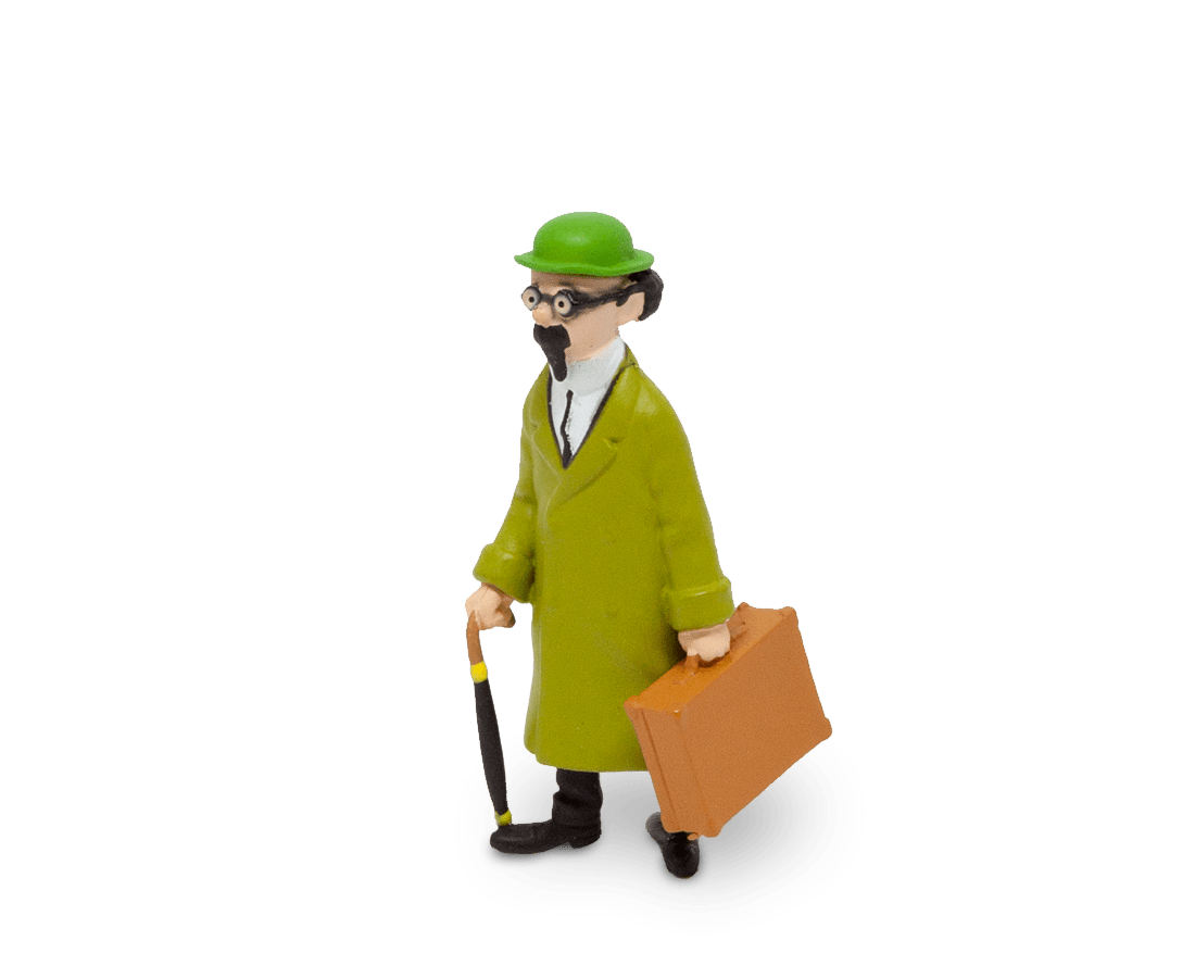 Tintin Professor Calculus holding his suitcase figurine. Moulinsart. Compendium Design Store. AfterPay, ZipPay accepted.