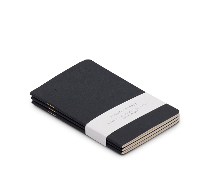 Public Supply Embossed Pocket Notebooks in Black - 3 Pack