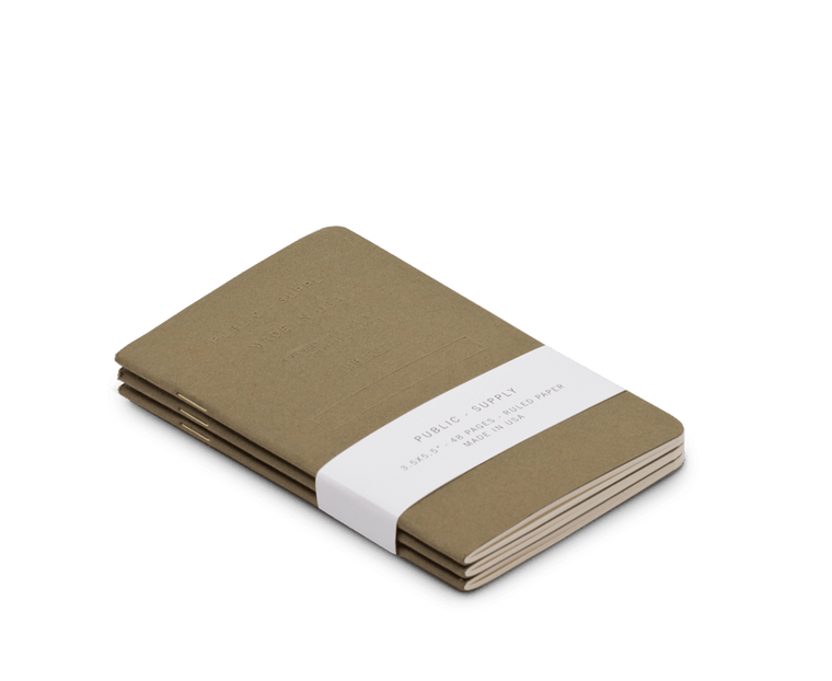 Public Supply Embossed Pocket Notebooks in Olive - 3 Pack