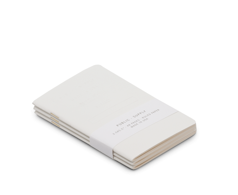 Public Supply Embossed Pocket Notebooks in White - 3 Pack