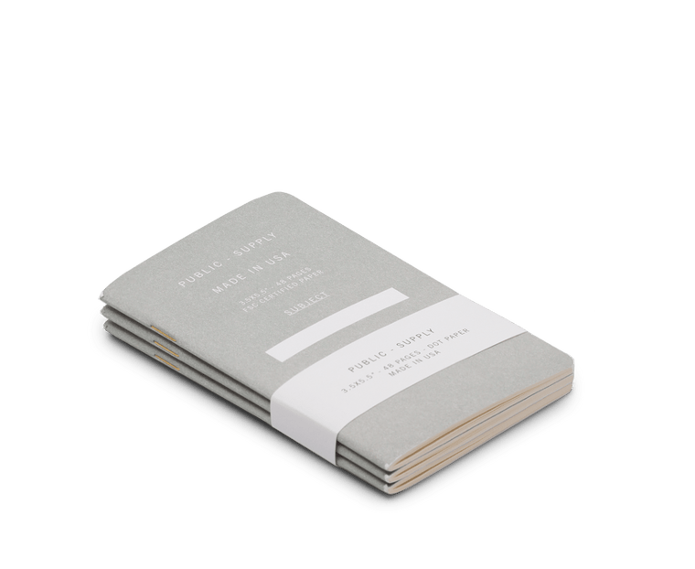 Public Supply Soft Cover Pocket Notebooks in Grey - 3 Pack