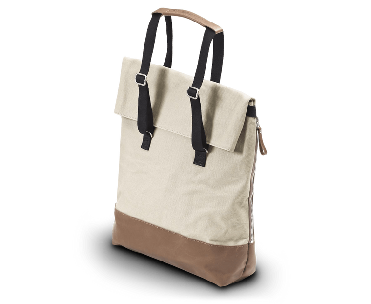 Day Tote in Brown Leather and Canvas