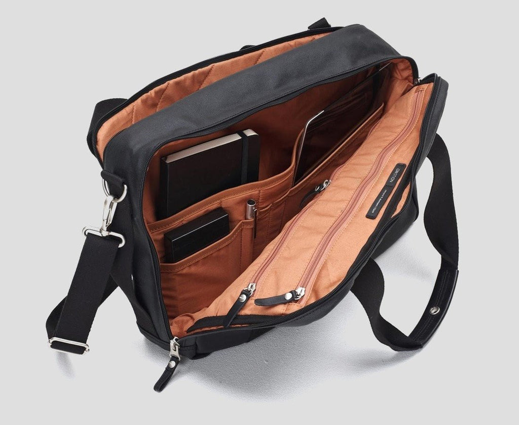 Qwstion Bags/Tech Office Bag in Organic Jet Black
