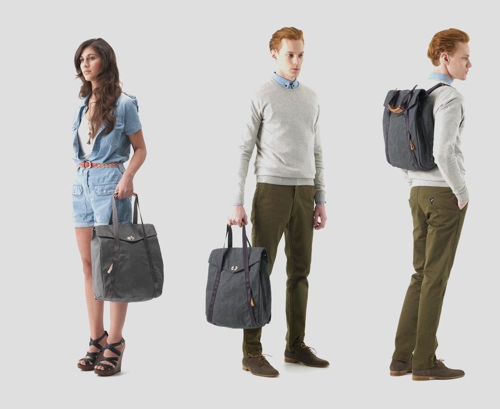 Qwstion Bags/Tech Tote/Backpack in Washed Grey