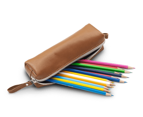 Qwstion Pencil Pouch in Brown Leather. Qwstion. Compendium Design Store. AfterPay, ZipPay accepted.
