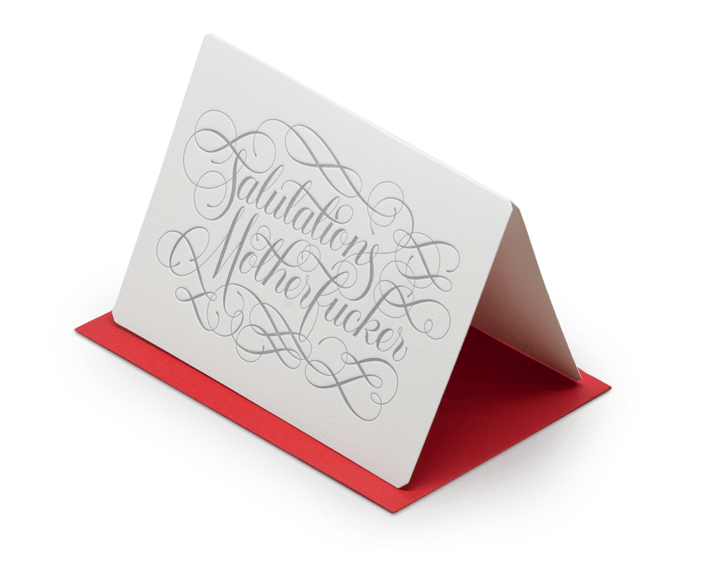 Salutations Motherf*cker greeting card. The Hungry Workshop. Compendium Design Store. AfterPay, ZipPay accepted.