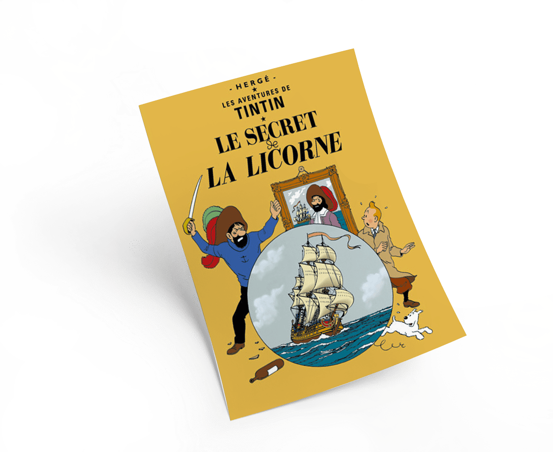 The Adventures of Tintin: Le Secret de la Licorne Poster in French. 50x70cm. Compendium Design Store, Fremantle. AfterPay, ZipPay accepted.