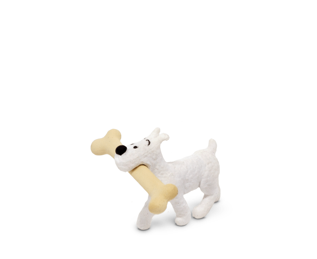 Snowy Walking With Bone (Large) PVC Figurine 4.5cm. Compendium Design Store, Fremantle. AfterPay, ZipPay accepted.