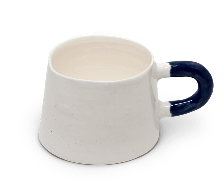 Sole Ceramics Coffee Cup in Clear Glaze with Blue Handle