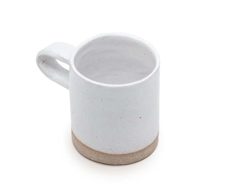 Sole Ceramics Coffee Cup in (Grey Clay) White Glaze with White Handle