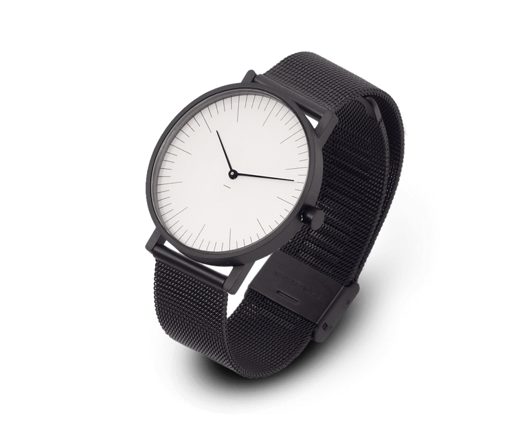 Stock Watches S005W (Lines) with Black Milanese Steel Mesh Strap