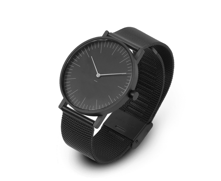 Stock Watches S005K (Lines) with Black Milanese Steel Mesh Strap