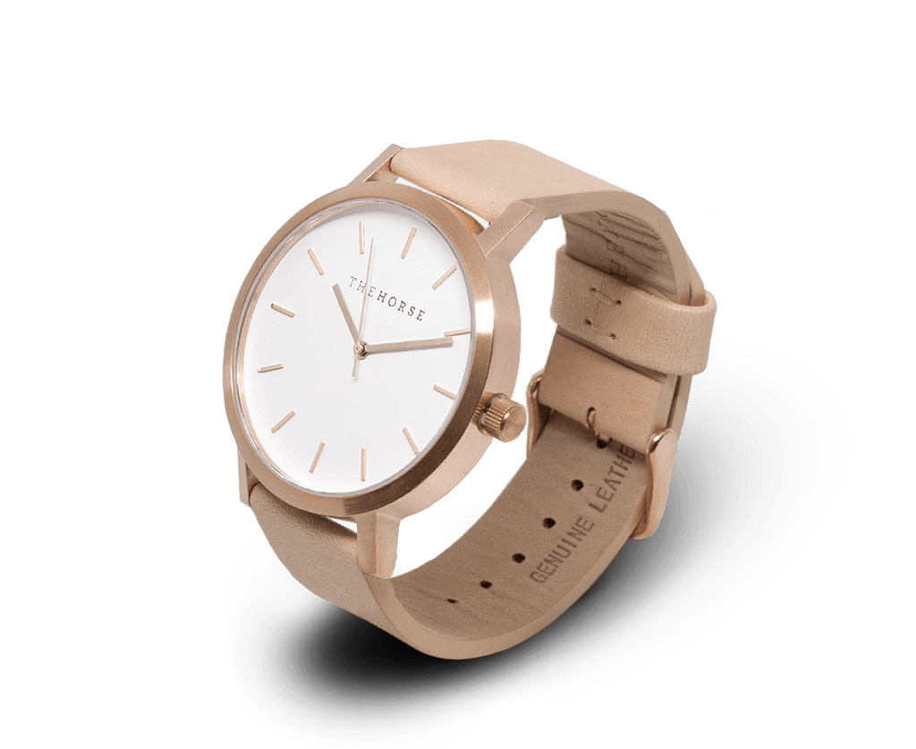 A24 The Horse Original watch in Brushed Rose Gold, White and Veg tanned leather band. Compendium Design Store, Fremantle. AfterPay, ZipPay accepted.