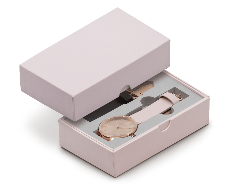 A27i The Horse Original Watch Gift Set Polished Rose Gold Case, Rose Gold Dial, Blush Strap and Black Strap