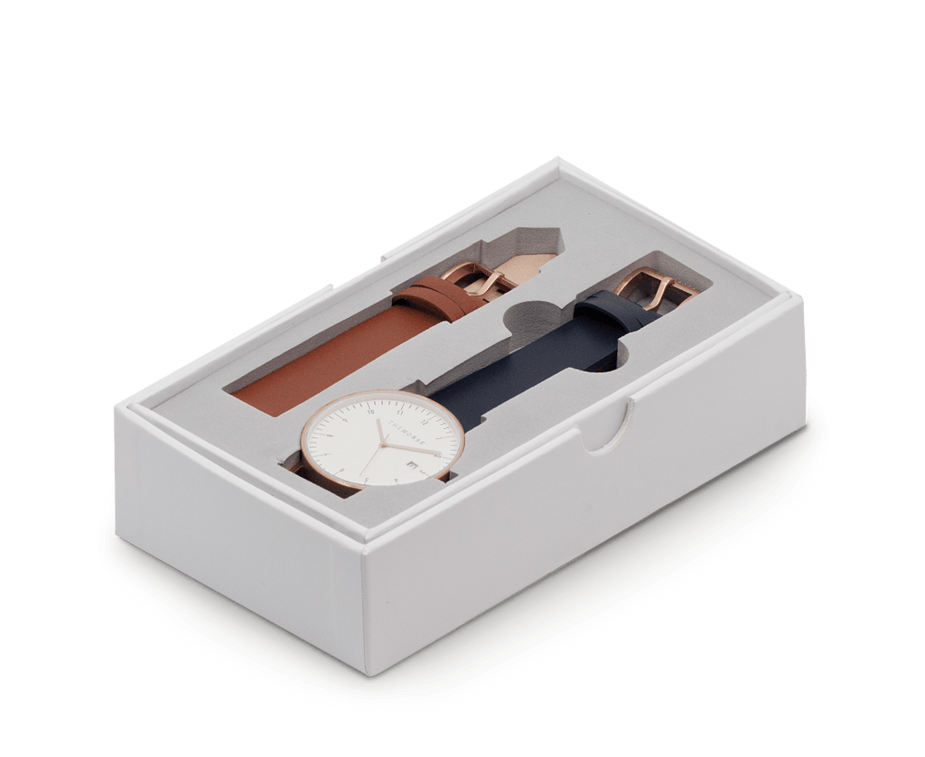 D3i The Horse D Series Watch Set in Brushed Rose Gold Case, White Dial, Navy Band & Tan Band