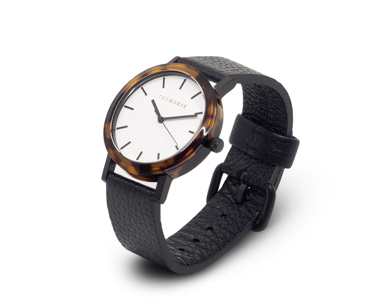 EM2 The Horse Mini 'Resin' Watch in Tortoise Shell Case, White Dial and Black Band