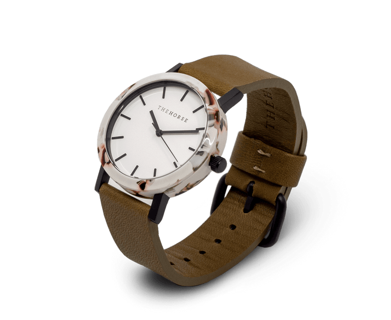 EM4 The Horse Mini 'Resin' Watch in Nougat Case, White Dial and Olive Band