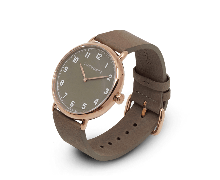 The Heritage by The Horse in Polished Rose Gold, Taupe Dial, Taupe Band (H4)