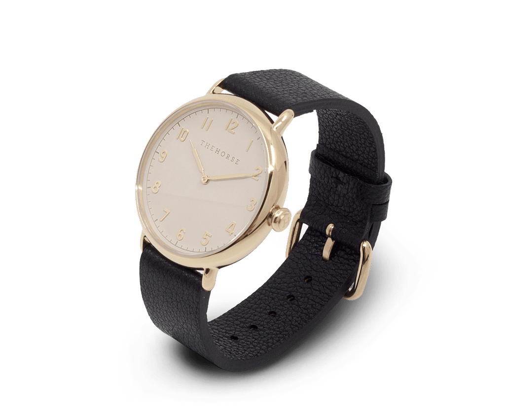 The Horse The Heritage by The Horse in Polished Gold, Blush Dial, Black Band (H5). Watches. Compendium Design Store. AfterPay.