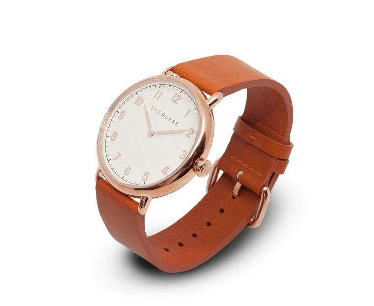 The Heritage by The Horse in Polished Rose Gold, Off White, Tan Band (H3)