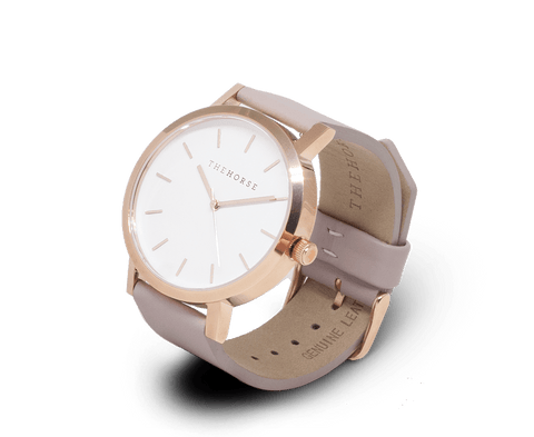 A14 The Horse Original watch in Polished Gold and White with Blush. The Horse. Compendium Design Store. AfterPay, ZipPay accepted.