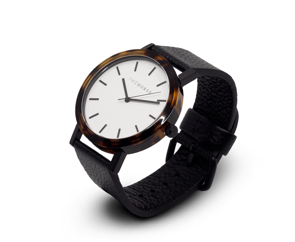 E2 The Horse 'Resin' Watch in Tortoise Shell Case, White Dial and Black Band