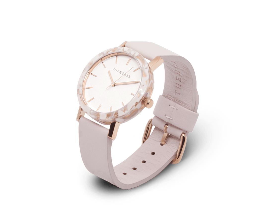 EM5 The Horse Mini 'Resin' watch in Nougat Case, White Dial and Baby Pink Band