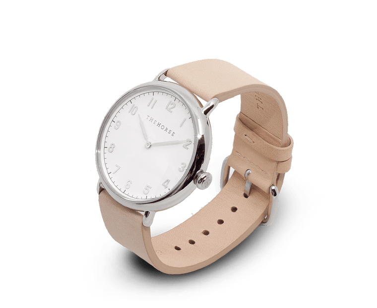 The Heritage by The Horse in Polished Silver, White Dial, Veg Tan Band (H2)
