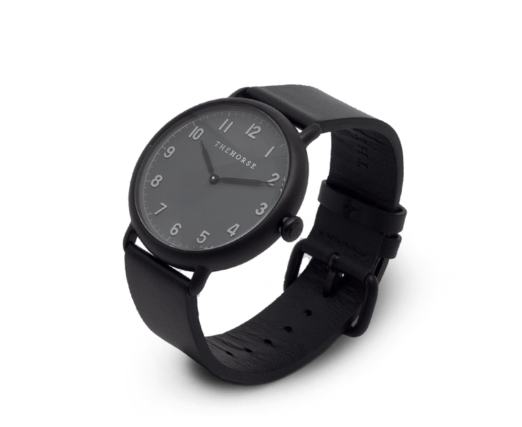 The Heritage by The Horse in Matte Black, Dark Grey Dial, Black Band (H6)