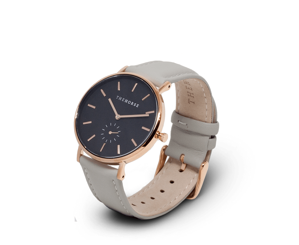 The Horse Watches The Horse Classic watch in Polished Rose Gold, Black dial with Grey leather